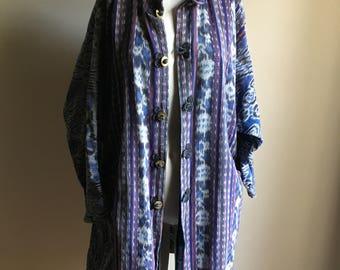 Rare 70s Cotton Free Size IKAT Jacket
