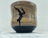 Handstand cup, marbled ceramic teacup yunomi tumbler handstand painting art pottery silhouette