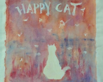Cat Tote Bag Handpainted, Whimsical Art Painting, Bright, Orange, Red, Abstract Scenery, Cute Animals, Birds, Fishes, Happiness, Picture
