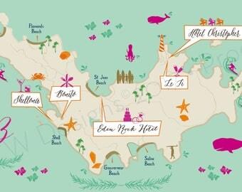 Custom Wedding Map with Itinerary -- St Barth Tri-Fold