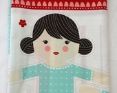 35 Off SALE LIL RED Panel Moda Folktale Fairytale quilt sewing maker doll cape pillow quilt wolf woodland Stacy Iest Hsu aqua red pink 20500