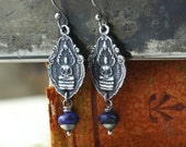 15% Off Today! Silver Lapis Buddha Earrings, Buddhist Jewelry, Yoga Jewelry, Blue Lapis Lazuli Earrings, Sterling Silver