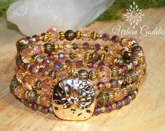 Memory Wire Multi Wrap Bracelet - Gold Mixed Metal - Sand Dollar -