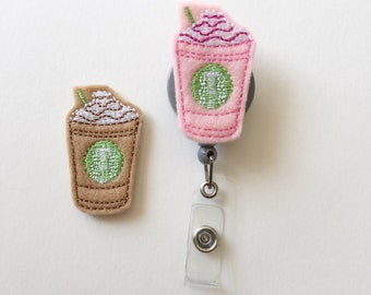 Coffee ID Badge Holder Retractable in Pink or Brown Felt, Frappe Fashionable Badge Reel, Ready to Ship, Nurse Badge Reel, Teacher Gift