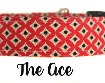"Red and Black Diamond Dog Collar ""The Ace"""