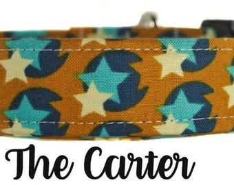 "Brown and Blue Stars and Circles Dog Collar ""The Carter"""
