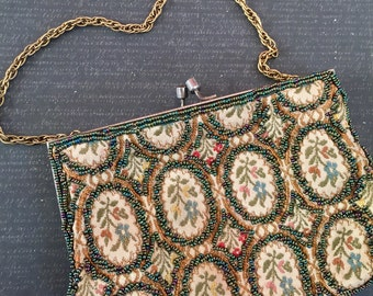 Vintage 1940s Antique Iridescent Beaded Tapestry Mini Purse