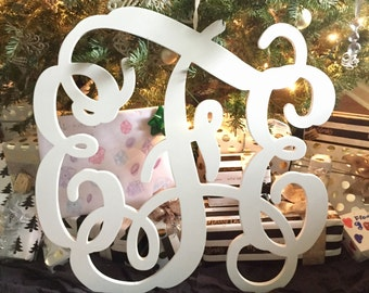 "12"" up to 36"" Unfinished vine monogram Wedding/Wedding gift/ Nursery decor/ Wood letters/ Wood monogram"