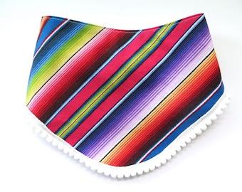 Serape Stripe Pom Pom Bib - Bibdana - Bandana Style Drool Bib - Baby Girl Gift - Boho Baby - Summer Style - Mexican Southwest Desert Style