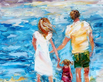 Beach Family painting original oil on canvas palette knife abstract impressionism fine art by Karen Tarlton