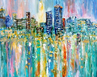 Chicago skyline painting original oil abstract palette knife impressionism on canvas fine art by Karen Tarlton