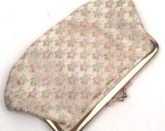 Vintage 1950s Ingber Metallic Floral  Clutch
