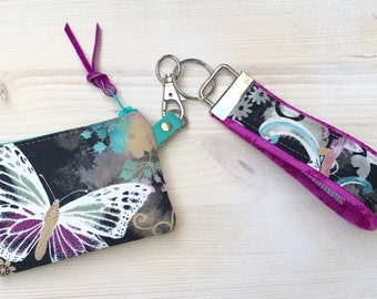 Butterfly Coin Purse - Blue Tooth Case with Wristlet - Purple Aqua Damask - Key Fob