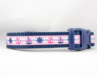"""Little Sailor Girl Dog Collar - 3/4"""" inch wide - for small dogs - anchor dog collar - sailboat - summer dog collar - beach collar - nautical"""