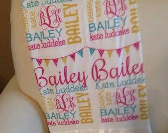 SPRING SALE Personalized Baby Blanket, Satin Edge, Personalized Toddler Blanket, Monogrammed Baby Blanket, Name Blanket