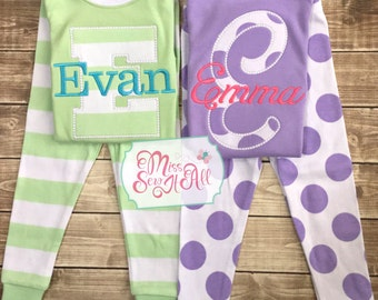 Children's Spring Pajamas, Easter Pajamas, Appliqued Initial Pajamas, Custom Pajamas, Springtime Pajamas, Kid's Easter Pajamas, Spring Pj's