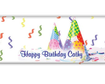 A Happy Birthday Candy Bar Wrappers for Hershey's 1.55 oz. candy bar--Birthday favor-12 decorative wrappers & 12 silver foil sheets