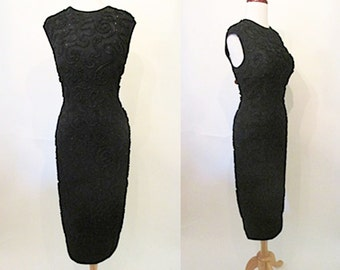 "Chic 1950's ""Mr Blackwell"" designer curve hugging cocktail dress / black rhinestones 1950's party dress pinup girl rockabilly VLV Size med."