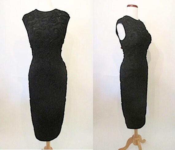 """Chic 1950's """"Mr Blackwell"""" designer curve hugging cocktail dress / black rhinestones 1950's party dress pinup girl rockabilly VLV Size med."""