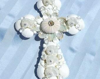 Turquoise and White Seashell Cross, Wedding, Confirmation, Graduation