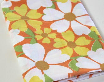 Vintage Sheet Fabric vintage reclaimed bed sheet linen fabric retro mod orange yellow white daisy floral quilting retro camper decor fabric