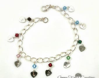 Silver Plated  Hand Stamped Heart Initial Birthstone Charm Bracelet Custom Made to Order