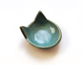 Turquoise Cat Ring Dish - Ceramic, Pottery - Aqua Cat - Tea Bag Rest, Jewelry Dish, Ring Holder, Cat Dish -  Gifts for Pet Lovers