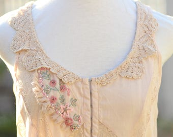 french shabby embroidered blouse, pale pink mori girl tunic, boho beaded lace blouse, pale peach gypsy festival  blouse