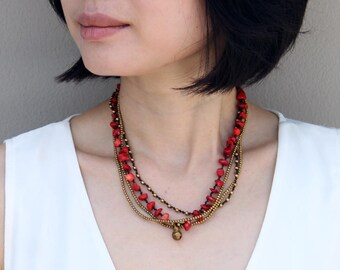 Beaded Nacklace Woven Strand Layering Rouge Coral Brass