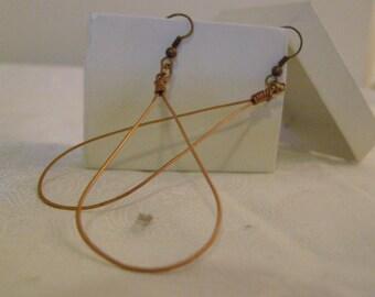 Copper oval teardrop earrings
