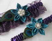 RESERVED for RENEE KNAACK-- Teal & Regency Purple Prom Garter