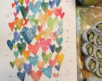 Original hearts watercolor painting