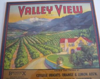 Valley View Brand Label College Heights Orange & Lemon Ass'n