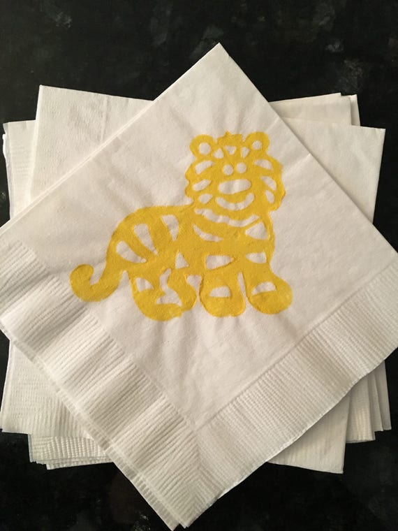 Yellow and White Tiger Paper Cocktail/ Lunch/ Dinner Napkins