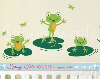 Frogs Wall Decal, Bathroom Wall Decal, Frogs Wall Sticker, Froggy Friends and Dragonflies, Nursery Vinyl Wall Decal, Frogs Kids Room Decor