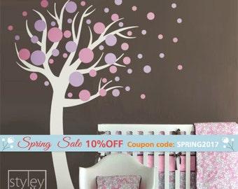 Polka Dots Tree Wall Decal, Polka Dots Wall Decal, Circles Wall Decal for Nursery Decor, Baby Room Wall Decals, Polka Dots Sticker Decor