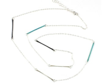 Necklace - Teocalli Long Bar Necklace - Silver Patina Mix
