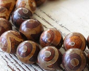 Rustic Tribal Dzi Beads - 12mm Round Tibetan Agate Beads - Jewelry Making Supplies - Rustic Agate Gemstone Beads ( 10 Beads)