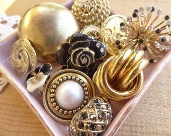 Vintage Earring Lot, Cluster, Rhinestone, Clip On Pierced Lot, Vintage Jewelry Destash, Drops Cluster Bracelet DIY Craft Gold Black Lot D61
