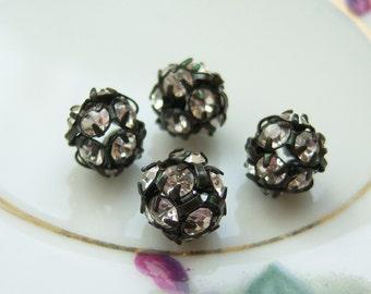 4 -Czech 8mm crystal on jet black rhinestone ball beads -SH172