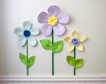 flower wall decal- girls room nursery decor- fabric wall flowers- 3d wall decor-  flower wall- yellow fabric flower- spring garden
