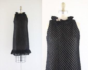 S A L E 1960s black velvet illusion dress