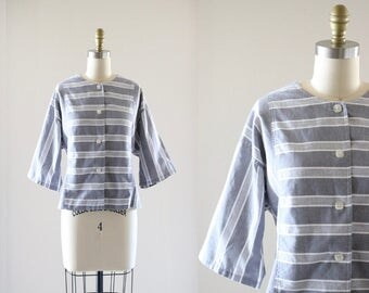 boxy striped button down / m