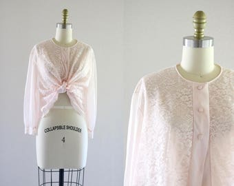 blush lace blouse / summer jacket