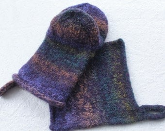 Knit Felted Wool Oven Mitt Set Purples, Lavender, Turquoise, Peach, Green, Felt Oven Mitt, Wool Hotpad Mitt Set, Felted Wool Oven Glove Set