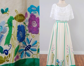 Vintage 60s 70s embroidered cotton maxi skirt / bohemian Mexican folk skirt / Josefa style / fits up to 27 inch waist