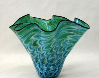 Hand Blown Glass Art  Patterned Bowl Vase 7285 GREEN TEAL