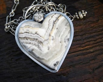 Sweetheart Silver Lace Onyx and Silver Necklace