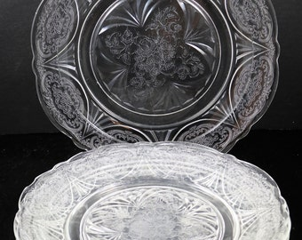Set of 4 Royal Lace Crystal Dinner Plates