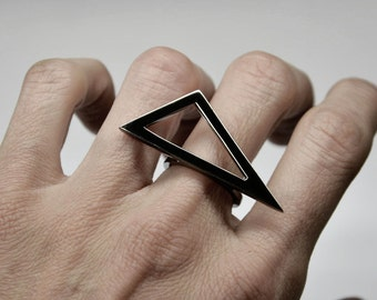 silver statement ring geometry triangle ring -minimalist ring - contemporary statement ring - architectural ring minimal rhodium plated ring